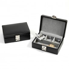 Black Leather Jewelry Case with Dividers, Slots for Cufflinks and Locking Clasp. Pigskin Lined
