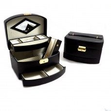 3 Level Hinged Black Leather Jewelry Box with Mirror, Travel Roll and Locking Clasp