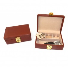 Brown Leather Jewelry Case with Dividers, Slots for Cufflinks and Locking Clasp. Pigskin Lined