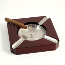 Cigar Ashtray, Stainless Steel & Walnut Wood