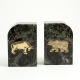 "Green Marble Gold Plated ""Stock Market"" Bookends,"