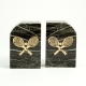 """Green Marble Gold Plated """"Tennis"""" Bookends,"""