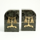 "Green Marble Gold Plated ""Legal"" Bookends,"