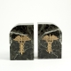 "Green Marble Gold Plated ""Medical"" Bookends,"