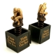 """Think Outside The Box"" Bookends, Bronzed Finish,"