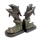 Dolphins, Bronze Brass on Wood Bookends,