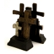 Cross Bookends, Cast Metal, Bronzed Finish.