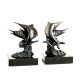 Swordfish Bookends, Bronzed on Marble Base,