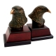 Eagle, Bronzed/Patina Finished Brass on Burl wood Bookends,