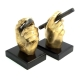 Cigar Antique Brass on Wood Bookends,