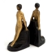 Deco Lady, Bronze on wood Bookends,