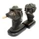 Smoking Bulldog, Bronzed Brass on Wood Bookends,