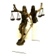 Seated Lady Justice, Bronzed Bookends on White Marble Base,