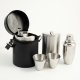 "10 Piece Set; 3 Flasks 8 oz.x3, Shaker, Jigger, Stirrer w/ 4 Cups in Black ""Buffalo"" Leather Case,"