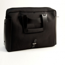 Briefcase Black Leather & Fabric w/Computer Compartment,