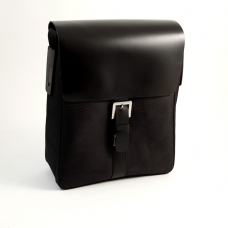 Messenger Bag Black Leather & Fabric,