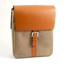 Messenger Bag Saddle Leather & Khaki Fabric,