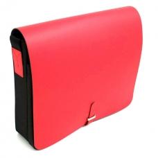 Shoulder Bag, Red Leather & Fabric,