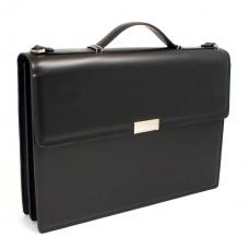 Briefcase, w/ Shoulder Strap, Black Leather,