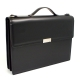 Briefcase, w/ Shoulder Strap, Black Leather,