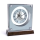 """Ani"" Clock, Piano Finish Walnut Wood & Stainless Steel w/ Skelton Movement,"