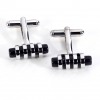 Rhodium Plated Cufflinks with Black 'Stone' and Chrome Accents.
