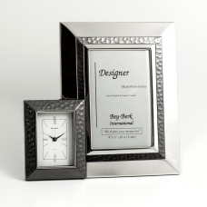 "4"" x 6"" Picture Frame & Clock in Chrome Finish with Gunmetal Accent"