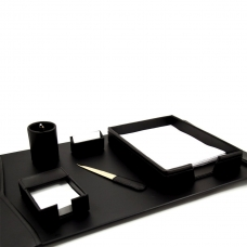 6 Piece Desk Set, Black Leather,