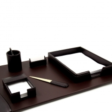 6 Piece Desk Set, Brown Leather,