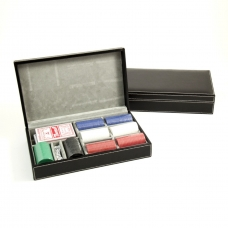 Card and Chips Set with 160, 8.8 grams Chips, Two Decks of Cards & Dice in a Black Leather Case.