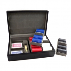 Card and Chips Set with 320, 8.8 grams Chips, Two Decks of Cards & Dice in a Black Leather Case