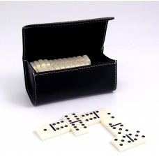 Domino Set in Black Leather Case.