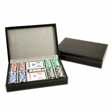 Poker Set with 200 11.5g Poker Chips, Cards & Poker Dice in Black Leather Case