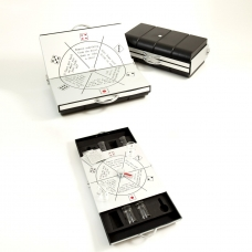 Drinking Game Set with Shot Glasses and Instructions. The Game Set is Enclosed in a Compact Aluminum Case.
