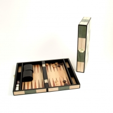 Backgammon Set with Birch and Olive Wood Inlay.