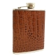 "6 oz. Stainless Steel Flask in Brown ""Croco"" Leather."