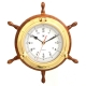 "13 1/2"" Brass/Oak Ship's Wheel, Clock,"