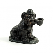 Bronzed Finished Bull Dog Sculpture with Changeable Cigar or Pipe.