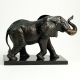 Brass Elephant Sculpture on Wood Base.
