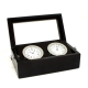 Chrome Clock & Thermometer in Black Box w/ Glass Top,