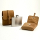 5 oz. Stainless Steel Flask in Tan Suede Leather Carrying Case.