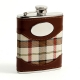 6 oz. Stainless Steel Flask in Brown Leather and Beige Plaid Fabric.