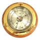 Brass Porthole Barometer on Oak,