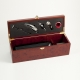 Bottle Holder w/ 5 Piece Bar Set in Rosewood Finished Box,