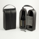 Wine Caddy For Two Bottles w/ Bar Tool, Black Leather Case,