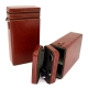 Wine Caddy For Two Bottles w/ 4 Bottle Accessories, Cognac Leather Case,