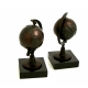 Globe Bookends, Bronzed on Marble Base,