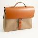 Briefcase Saddle Leather & Khaki Fabric,