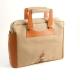 Briefcase Saddle Leather & Khaki Fabric w/Computer Compartment,