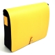 Shoulder Bag, Yellow Leather & Fabric,